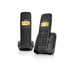 GIGASET-A120-DUO Gigaset - DECT/GAP bezdrátový telefon,, seznam na 50 jmen, 2 sluchátka, barva černá
