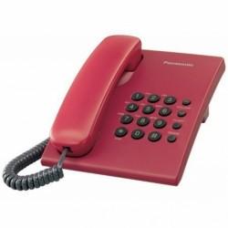 KX-TS500FXR Panasonic - jednolinkový telefon bez displeje, 2 úrovně hlasitosti, opakov. posledního čísla,červený