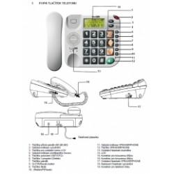 KXT480-BILA Maxcom - šnůrový telefon s velkými tlačítky vhodný pro seniory, s LCD, barva bílá