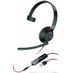 BLACKWIRE-C5210-USB-A Plantronics - náhlavní souprava pro PC na jedno ucho, spona přes hlavu, tl. přijmu, USB+3,5 mm jack