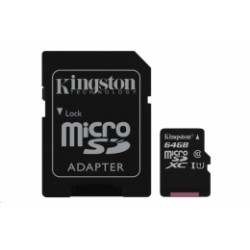 SDCS/64GB Kingston - paměťová karta 64GB Micro SecureDigital (SDHC) Card, Class 10 UHS-I + SD adaptér