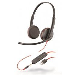 BLACKWIRE-C3225-USB-A Plantronics - náhlavní souprava pro PC na obě uši, přes hlavu, tl. přijmu, USB+3,5 mm jack