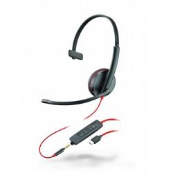 BLACKWIRE-C3215-USB-C Plantronics - náhlavní souprava pro PC/mobil na jedno ucho, přes hlavu, tl. přijmu, USB-C+3,5mm jack
